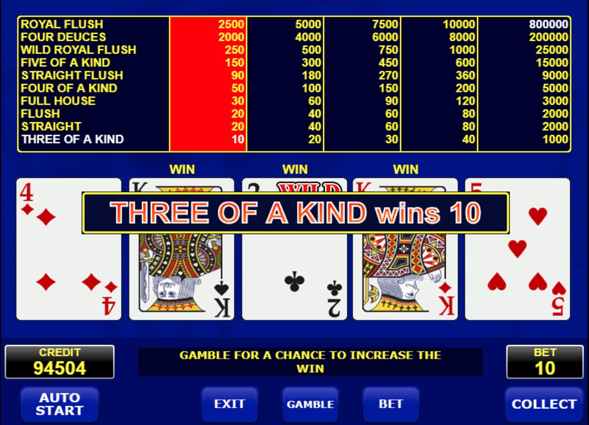 amatic Deuces Wild video poker