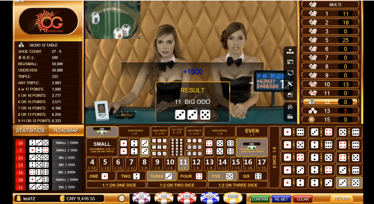 Oriental Game Sic Bo